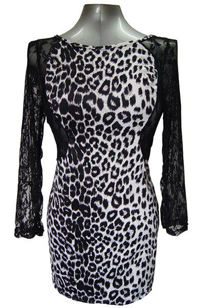 Sexy Round Collar Long Sleeve Leopard Print Cut Out Women's Dress - BLACK 3XL