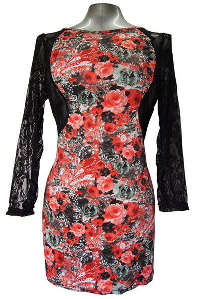 Sexy Round Collar Long Sleeve Floral Print Cut Out Women's Dress - RED XL