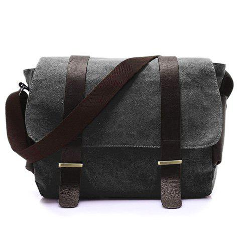 Stylish Style Splice and Canvas Design Messenger Bag For Men - BLACK GREY