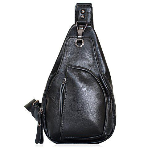 Casual Solid Color and Hole Design Men's Messenger Bag - BLACK