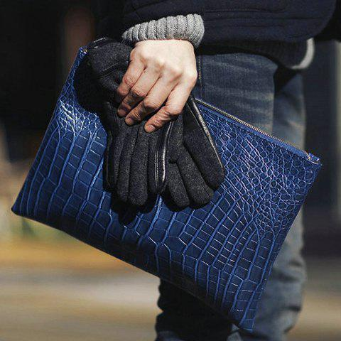Fashionable Zipper and Crocodile Print Design Clutches For Men - DEEP BLUE