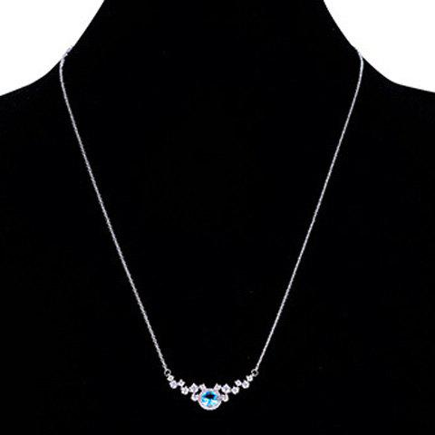 Faux Crystal Round Pendant Necklace - SILVER/BLUE