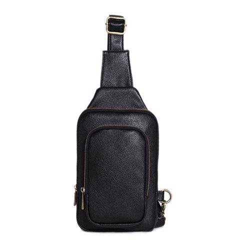 Simple Style PU Leather and Zipper Design Messenger Bag For Men - BLACK