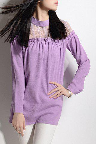 Elegant Stand Collar Lace Splicing Chiffon Long Sleeve Blouse For Women - PURPLE L