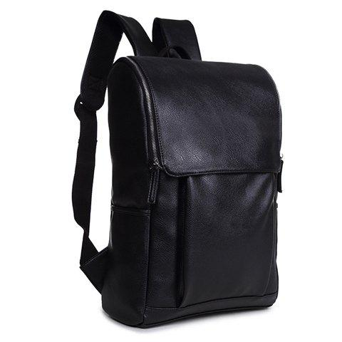 Stylish PU Leather and Zipper Design Backpack For Men - BLACK