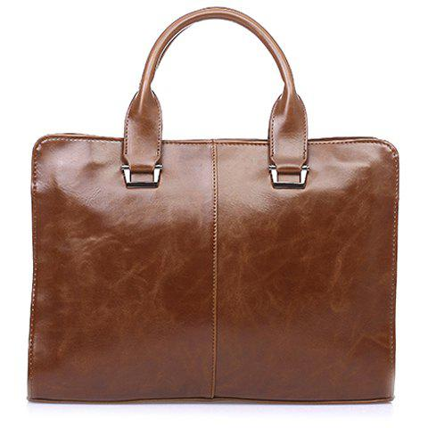 Career Solid Color and Zipper Design Briefcase For Men -  COFFEE
