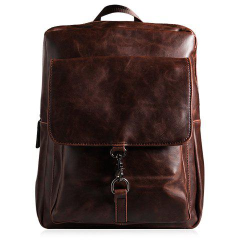 Preppy Zipper and PU Leather Design Backpack For Men