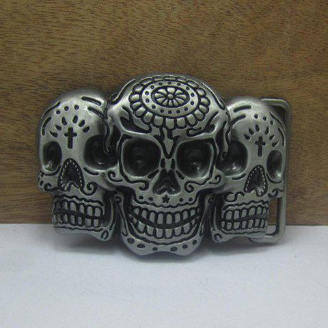 Gothic Style Men's Skulls Shape Alloy Belt Buckle - SILVER