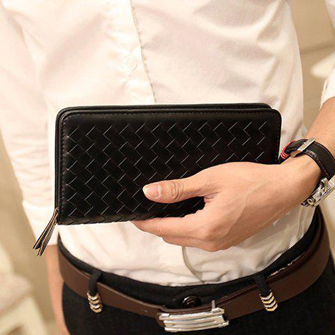 Stylish Zipper and Weaving Design Wallet For Men - BLACK