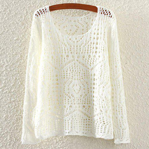 Casual Scoop Neck Solid Color Hollow Out Long Sleeve Women's Sweater - OFF WHITE ONE SIZE(FIT SIZE XS TO M)