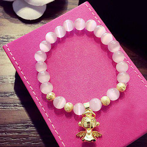 Cute Beads Angel Pendant Decorated Bracelet For Women - PINK