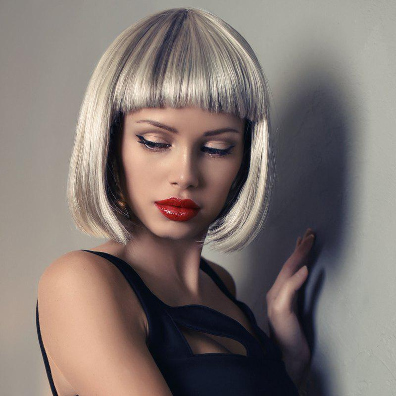 Bob Style Mixed Color Fashion Capless Heat Resistant Synthetic Short Straight Full Bang Women's Wig - COLORMIX