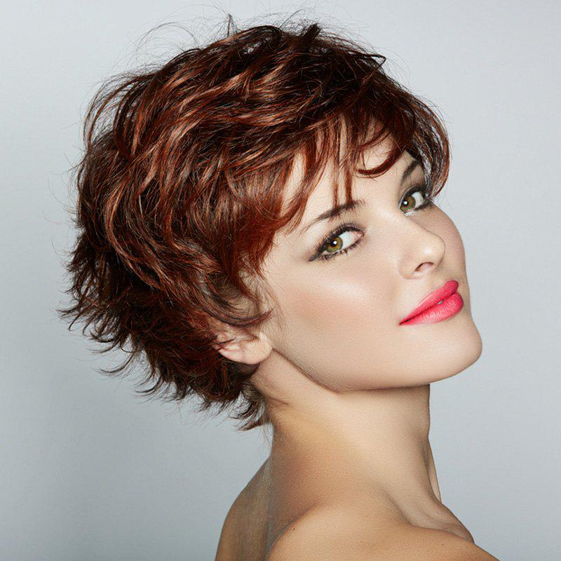 Nobby Short Fluffy Curly Side Bang Deep Brown Capless Heat Resistant Fiber Wig For Women
