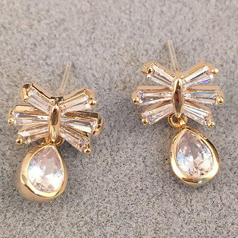 Pair of Charming Rhinestoned Women's Waterdrop and Butterfly Earrings - CHAMPAGNE GOLD