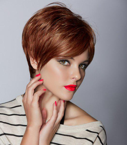 Vogue Synthetic Shaggy Inclined Bang Natural Straight Brown Short Capless Women's Wig - BROWN