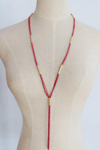 Simple Rope Tassel Sweater Chain Necklace For Women - COLOR ASSORTED