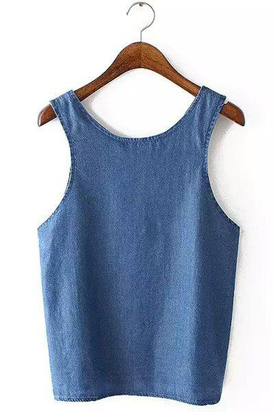 Casual Sleeveless Scoop Neck Bleach Wash Pure Color Women's Tank Top - BLUE M