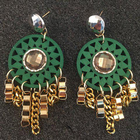Pair of Link Tassels Hollow Out Engraved Flower Earrings - GREEN