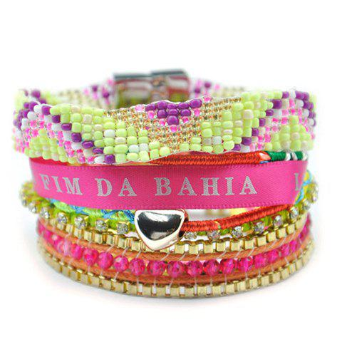 Delicate Colored Beads Multi-Layered Knitted Magnet Clasp Bohemian Bracelet For Women - COLORMIX