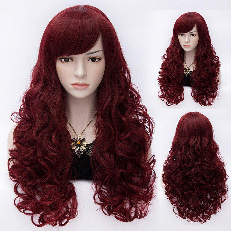 Fashion Capless Long Inclined Bang Wavy Trendy Fluffy Heat Resistant Synthetic Wig For Women - DARK RED M M/