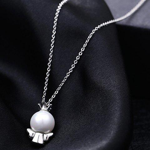 Delicate Chic Faux Pearl Doll Pendant Necklace For Women - SILVER