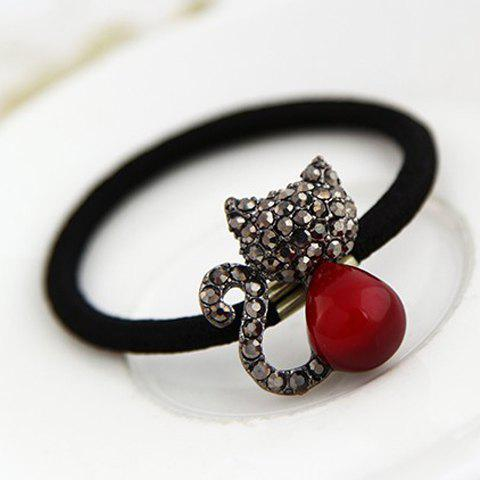 Delicate Chic Rhinestone Cat Hair Band For Women - RED/BLACK