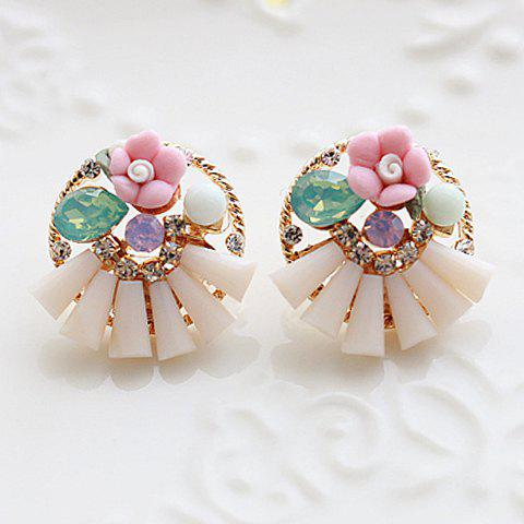 Pair of Classic Rhinestone Flower Shape Earrings For Women - PINK