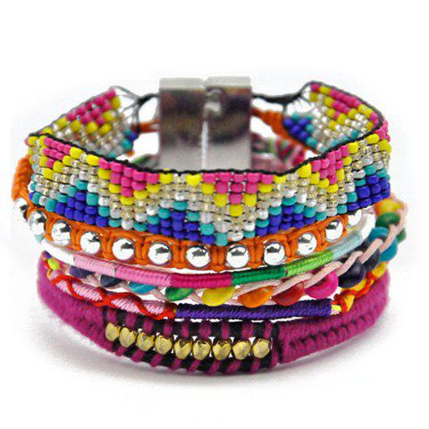 Stylish Beads Weaved Bracelet For Women - COLORMIX
