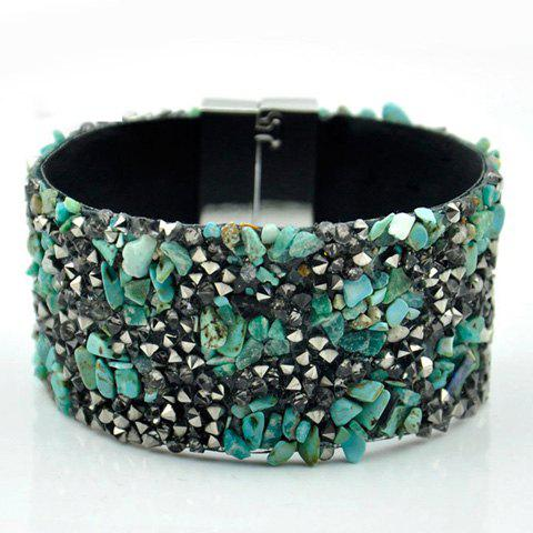 Rhinestone Magnetic Closure Bracelet - GREEN