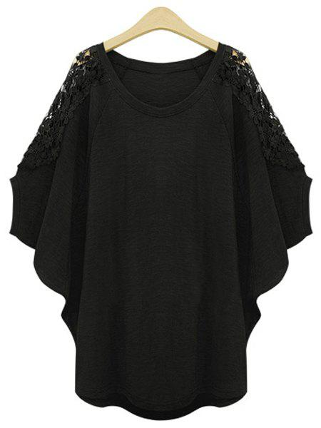 Stylish Scoop Neck Lace Splicing Plus Size Batwing Sleeve Women's T-Shirt - BLACK XL