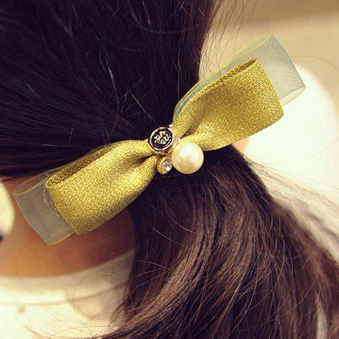 Sweet Faux Pearl Bow Hairgrip For Women - GREEN