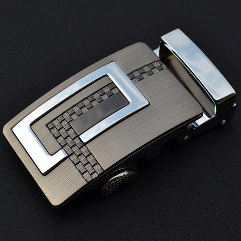 Stylish Latticed Shape and Silver Alloy Embellished Men's Automatic Buckle - COLORMIX