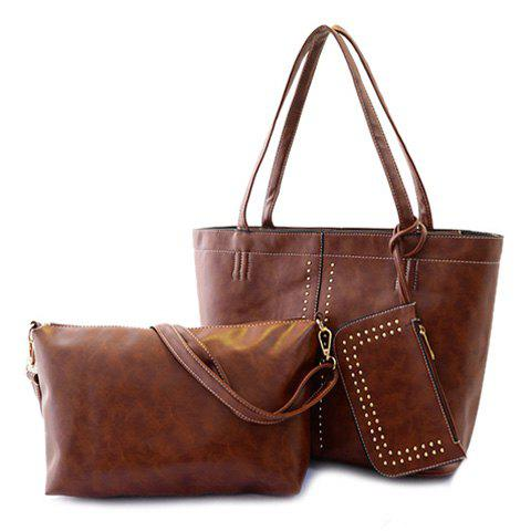 Fashion Style Rivets and Zipper Design Vintage Bag For Women - LIGHT BROWN