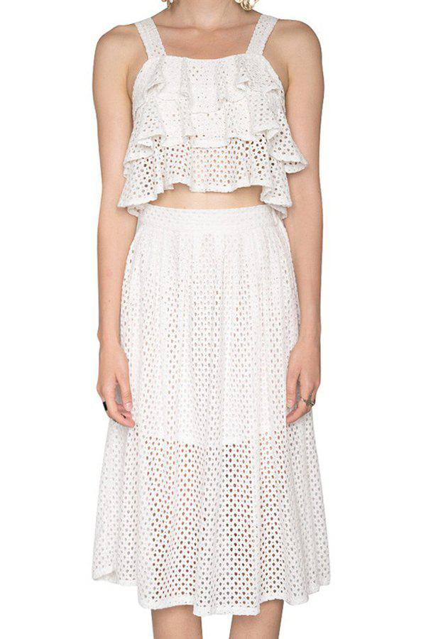 Fashionable Multi-Layered Flounce Tank Top + Openwork Skirt For Women - WHITE M