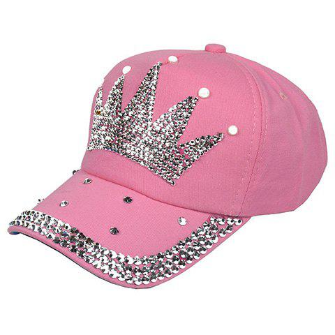 Fashionable Solid Color and Princess Crown Embellished Women's Baseball Hat - PINK