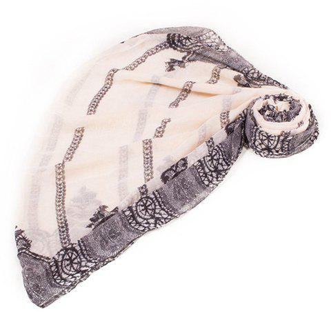Chic Black Lace Pattern Voile Scarf For Women