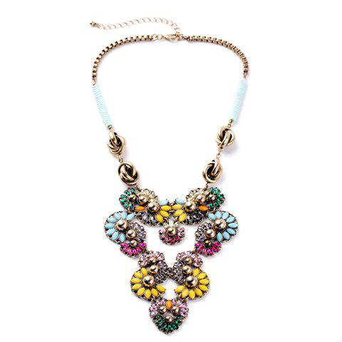 Retro Rhinestone Flower Pendant Necklace - COLORMIX