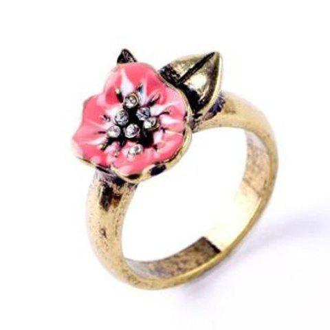Rhinestone Floral Glazed Ring - GOLDEN ONE-SIZE