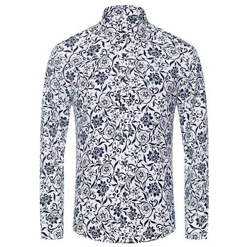 Fashionable Flower and Leaf Print Men's Slimming Turn-Down Collar Long Sleeve Shirt