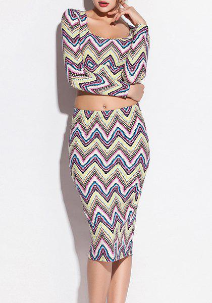 Stylish Scoop Neck Zig Zag Print Long Sleeve Crop Top + Skirt Women's Twinet - COLORMIX S