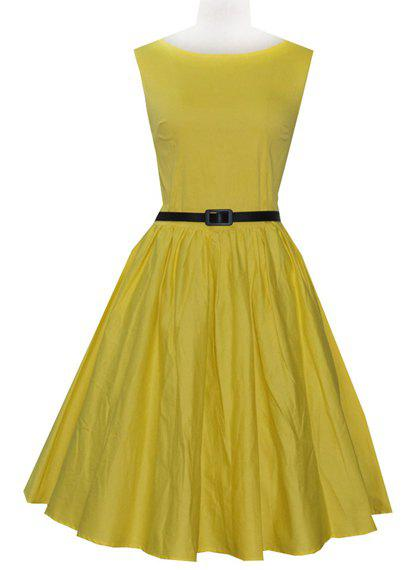 Vintage Style Slash Neck Solid Color With Belt Sleeveless Women's Dress - YELLOW XS