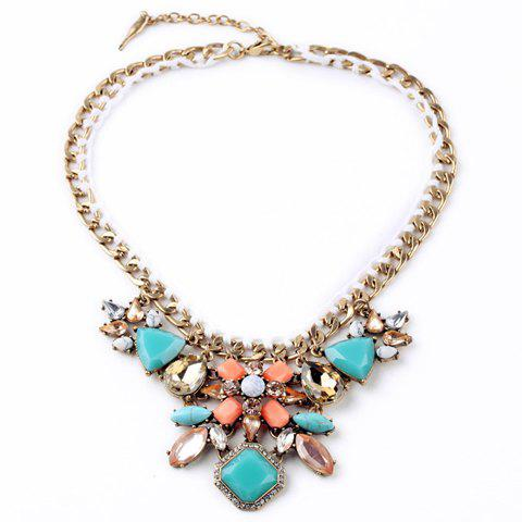 Luxury Rhinestone Floral Necklace For Women - COLORMIX