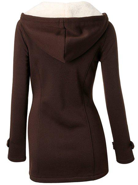 Casual Hooded Solid Color Double-Pocket Flocking Long Sleeve Women's Coat - COFFEE S