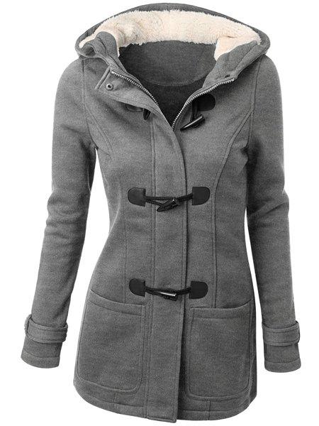 Casual Hooded Solid Color Double-Pocket Flocking Long Sleeve Women's Coat - LIGHT GRAY M
