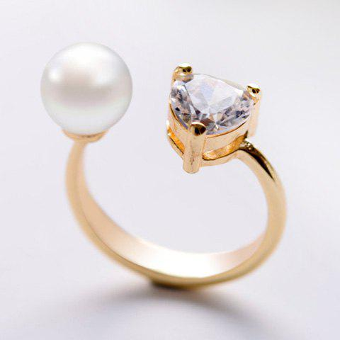 Sweet Faux Pearl and Rhinestone Women's Cuff Ring - GOLDEN ONE-SIZE