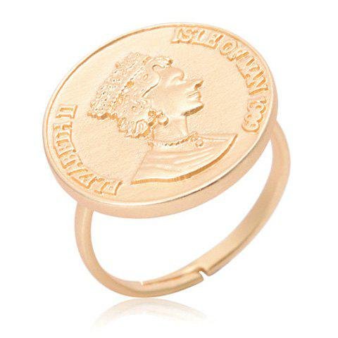 Vintage Solid Color Engraved Coin Women's Ring - GOLDEN ONE-SIZE