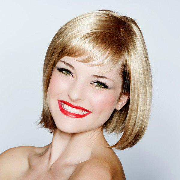 Fashion Bob Straight Side Bang Short Capless Heat Resistant Fiber Blonde Wig For Women - COLORMIX