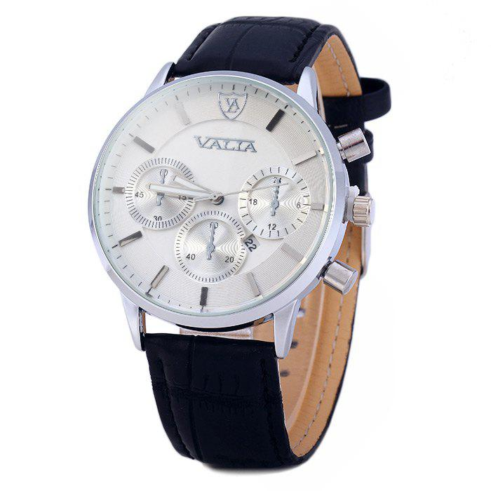 Valia 8281-2 Men Quartz Watch with Date Display Leather Strap Decorative Sub-dials - WHITE