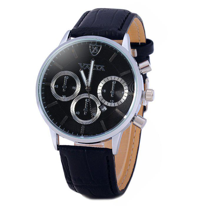 Valia 8281-2 Men Quartz Watch with Date Display Leather Strap Decorative Sub-dials - BLACK