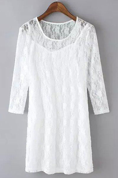 Ladylike 3/4 Sleeve Round Neck See-Through Lace Dress + Solid Color Sundress Women's Twinset - WHITE S
